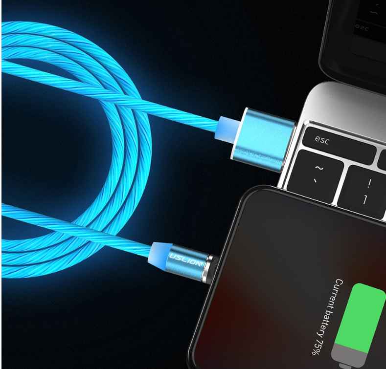 LED Magnetic USB Phone Cable Micro Type C Charger Fast Charging Magnet Charge Cord
