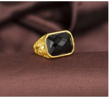Electro-Plated 24K Gold Agate Men's Ring