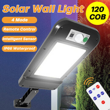 Solar Powered LED Wall Light Motion Sensor 120 COB Outdoor Home Street Lamp with Remote Control