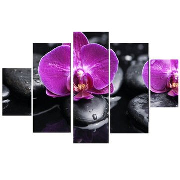 Five(5) Piece Modern Abstract Flowers Canvas Print Painting - Paint By Numbers DIY