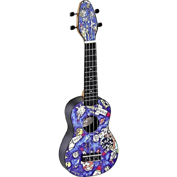 Ortega Guitars K2-SP Keiki Soprano Ukulele in Custom Spaceman Design Print (Pre-Order)