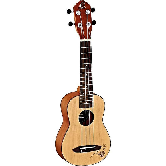 Ortega Guitars RU5CE-SO Bonfire Series Soprano Ukulele w/ Laser Engraved Butterfly