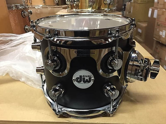 DW Drum Workshop Design Series 7x8 Black Satin Rack Tom Chrome HW
