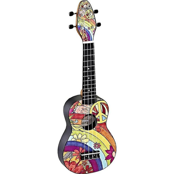 Ortega Guitars K2-68 Keiki Soprano Ukulele in Custom Peace '68 Design Print