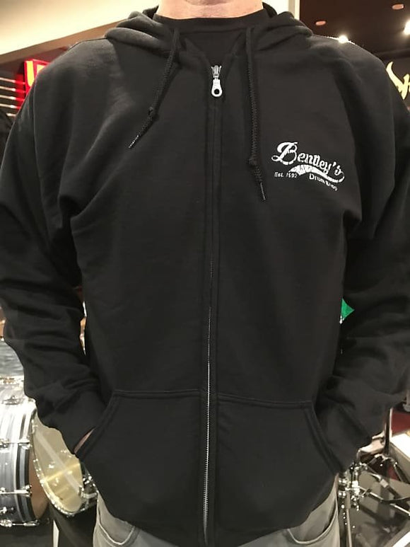 Bentley's Drum Shop (M-XL) Zip-Up Hoodie Sweater in Black w/ White Distressed Logo