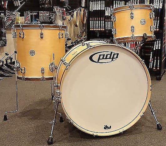 PDP 13,16,24 Concept Maple Classic Drum Set in Natural Satin w/ Tobacco Satin Hoops (Open Box)