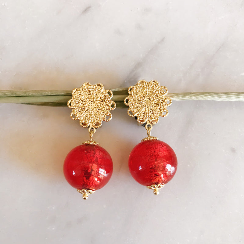 Boucles Murano rouge or
