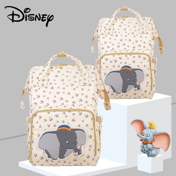 Disney Beige Cute Dumbo USB Diaper Bag Waterproof Backpack Bag For Mom New Luxury Bag