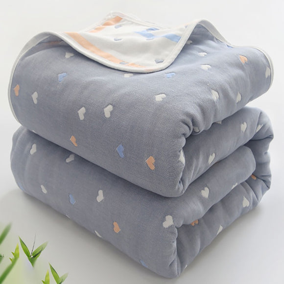 Soft Breathable Baby Blanket 6 Layer Muslin Cotton  Baby Quilt