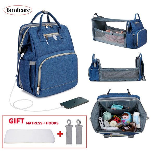 Diaper Bag Multifunctional Baby Folding Bed Mom & Dads USB Backpack Baby Handbag Traveling Knapsack