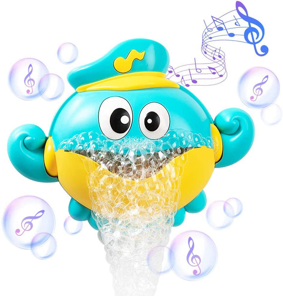 Baby Bath Toys Bubble Machine Crabs Frog & Music for Bathtub Automatic Bubble Maker