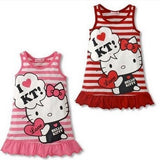 Baby Girls Striped Summer Sleeveless Dress Cotton Cartoon Dress For Baby Girls Child Clothing