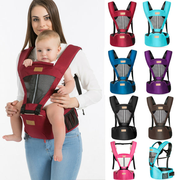 0-36 Months Baby Carrier Kangaroo Sling Wrap Portable Infant Hipseat Soft Breathable & Adjustable Hip Seat