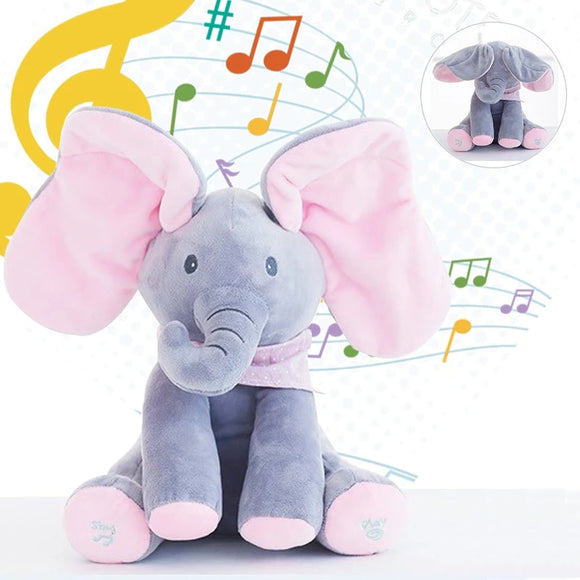 Peekaboo Plush Sing & Play Plush Toy with Music - Elephant Cover Eyes While Playing Music