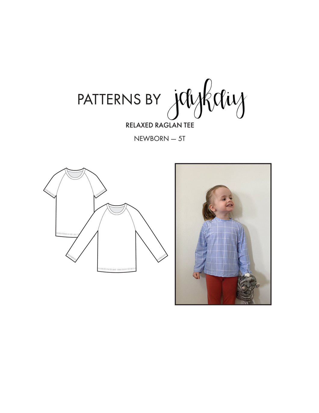 Kids Raglan t-shirt (Short and Long sleeve) sewing pattern with Picture Tutorial — Sizes Newborn to 5T