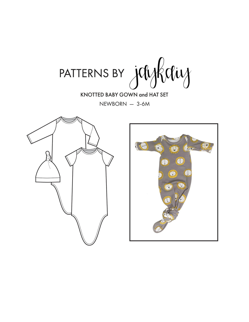 Knotted Baby Gown + Hat Set Sewing Pattern with tutorial— Newborn to 3-6M