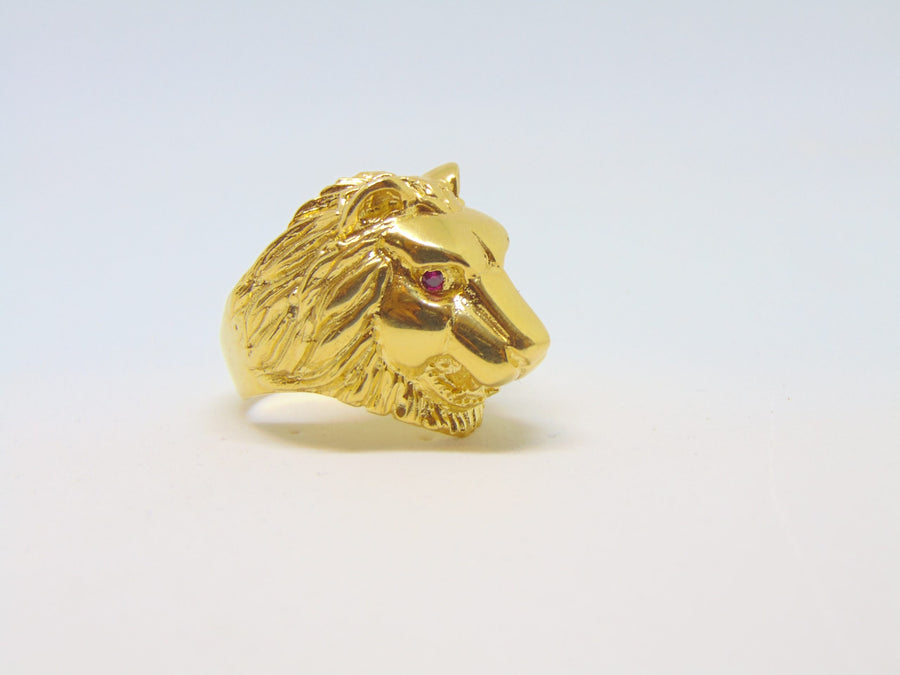 Leeuw ring - Zilver - Gold plated 001