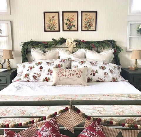 christmas bedroom, holiday bedroom, linen, bedding