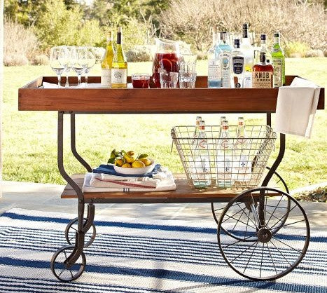 bar cart, porch, patio, summer style