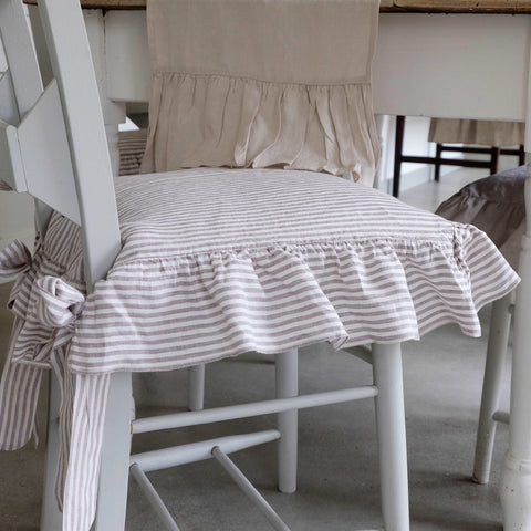 seat cover, linen seat cover, ruffled linen