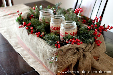 burlap christmas decor, burlap, farmhouse christmas, farmhouse style, burlap decor