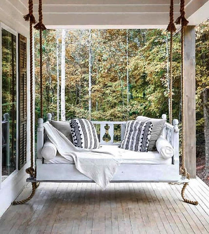 porch swing, hanging seat, porch and patio, summer style, outdoor decor