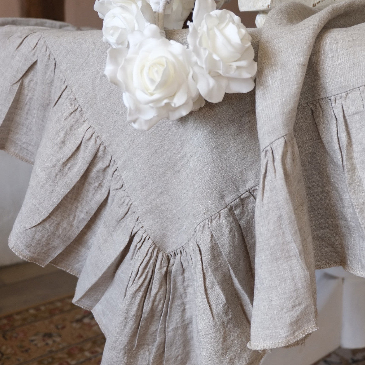 ... Washed Linen Tablecloth With Ruffles   Linen ...
