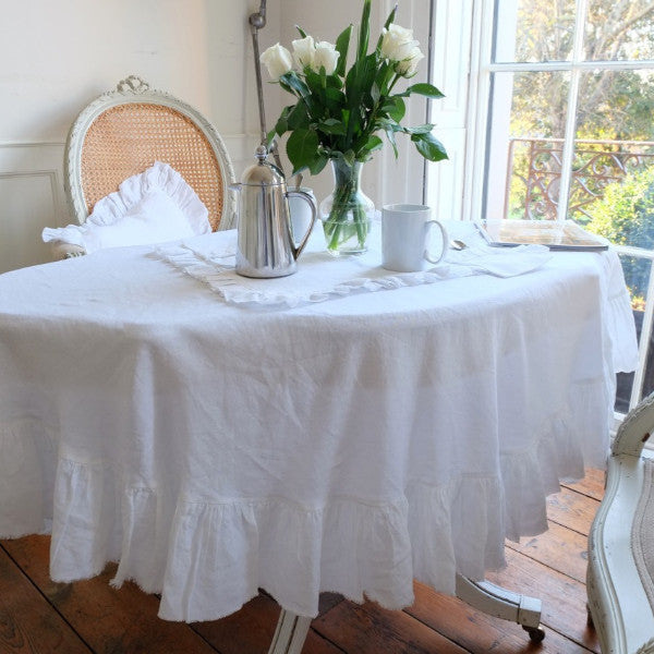 Ruffled Linen Rectangle Tablecloth Large Oscar