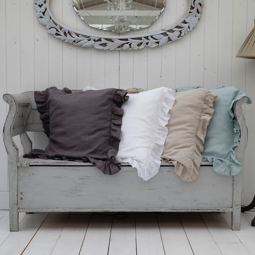 Large Ruffled Linen Cushion Covers / Throw Pillows - 26 inch