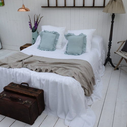 ruffled linen coverlet, linen bedspread, linen bed cover, linen bed throw