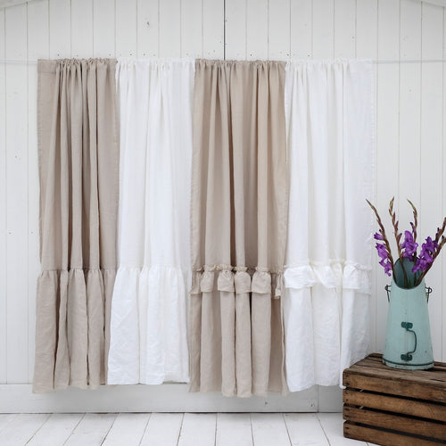 Linen Shower Curtain - Ruffled, Gathered or Plain - Linen