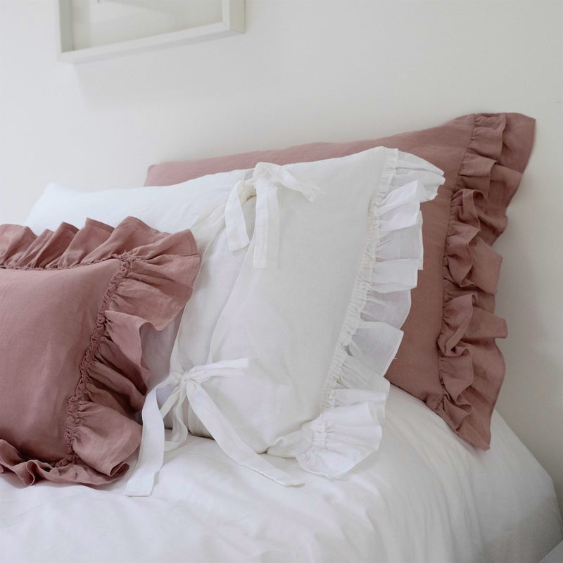 Ruffled Linen Pillowcases – Double Ruffles, Double Smiles - Linen