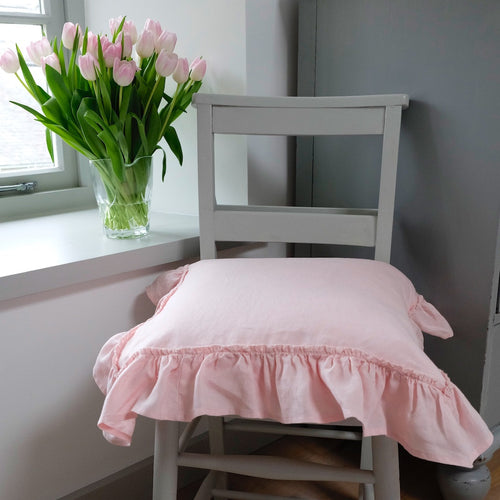 Ruffled Pillow Cover/Cushion Cover - Linen