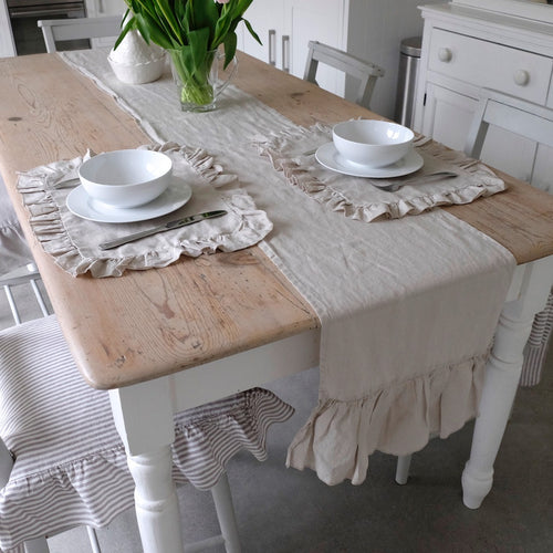 Ruffled Linen Table Runner - Linen