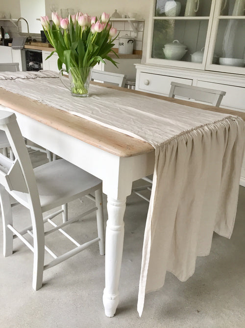 Linen Table Runner / Linen Tablecloth / Unique Design! - Linen