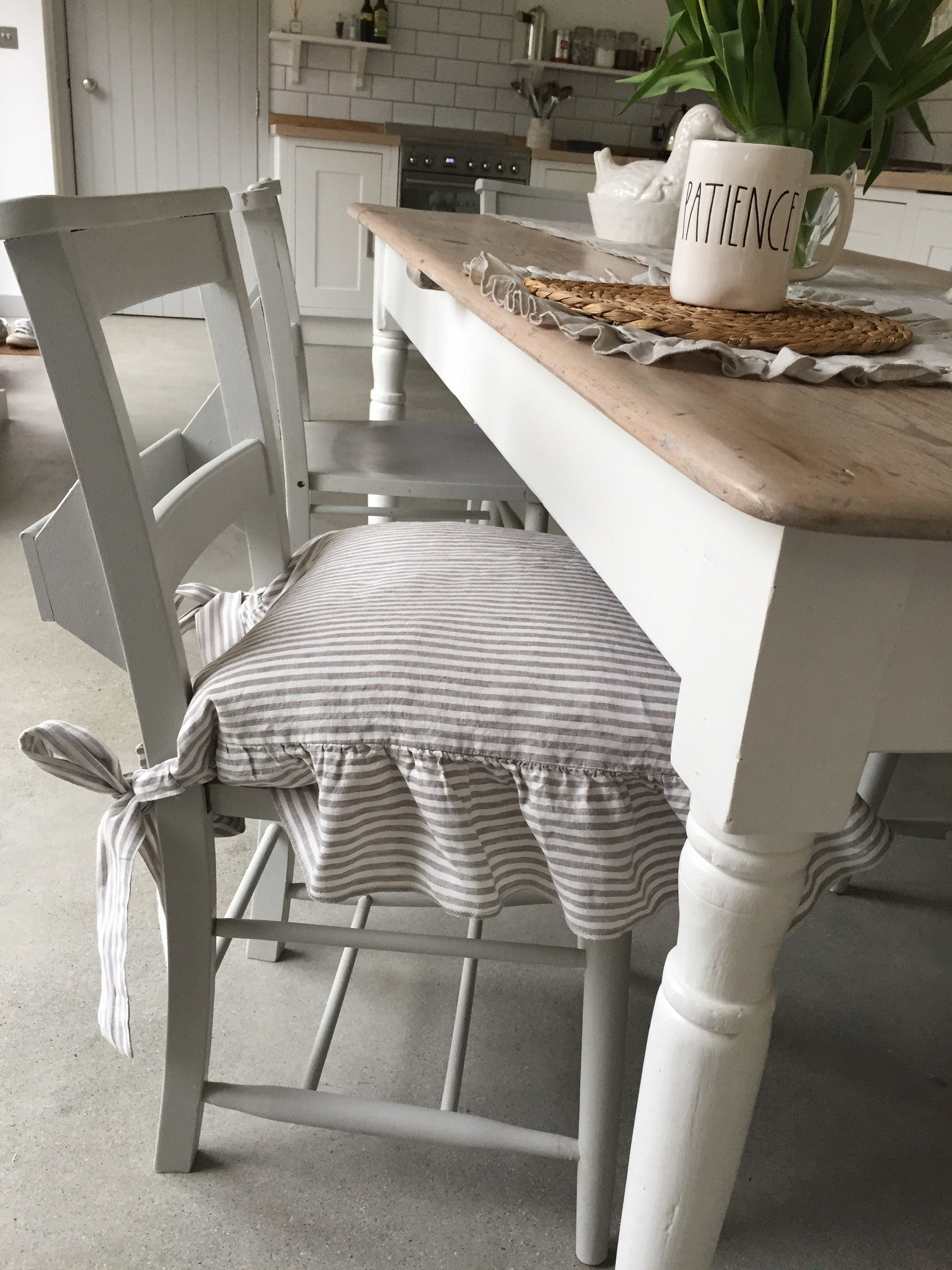 Linen Seat Chair Cover Shabby Chic