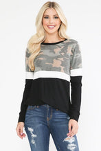 Load image into Gallery viewer, Black & Ivory Camo Top