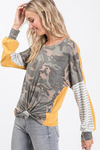 Load image into Gallery viewer, Camo Stripes & Gold Top