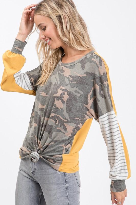 Camo Stripes & Gold Top