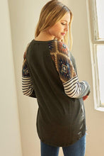 Load image into Gallery viewer, Charcoal Aztec & Stripes Top