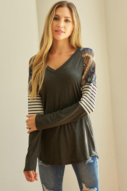 Charcoal Aztec & Stripes Top