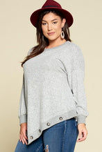 Load image into Gallery viewer, Heather Gray Assymetrical Hem with Buttons