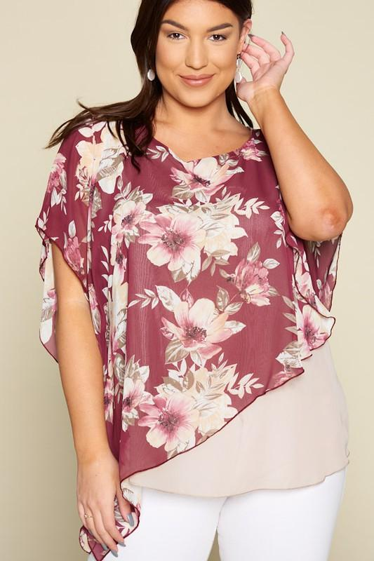 Floral Chiffon Assymetrical Layered Top