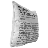 First Amendment Pillow Cover white