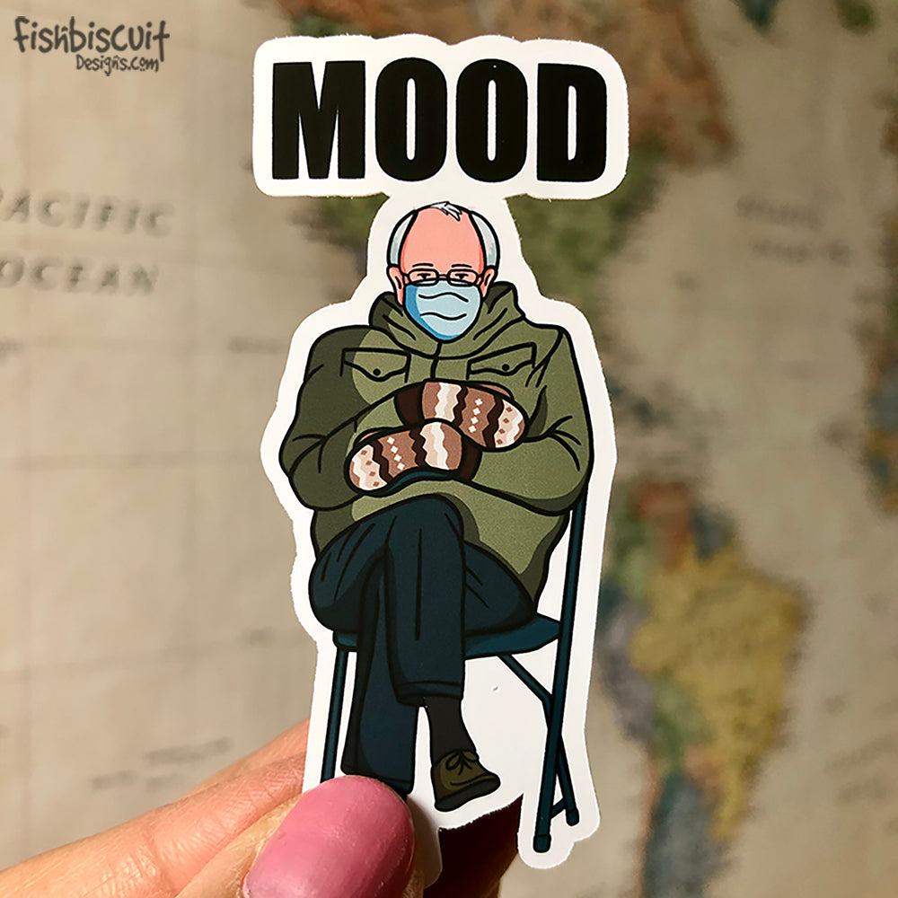 Bernie Sanders Mittens Mood Sticker