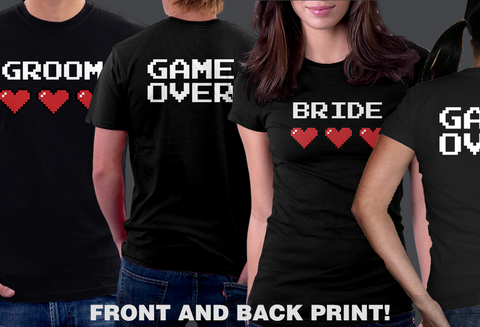 Bride Groom Game Over Couples T-shirts