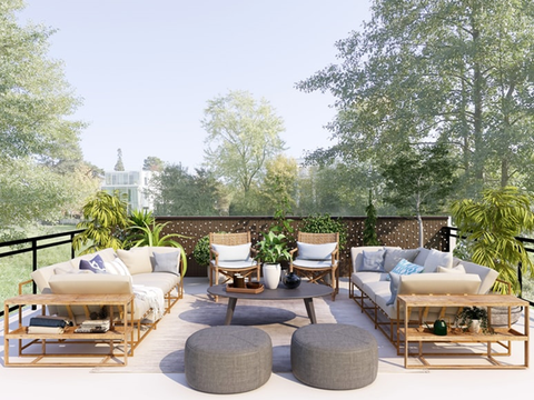 outdoor furniture set in a patio.