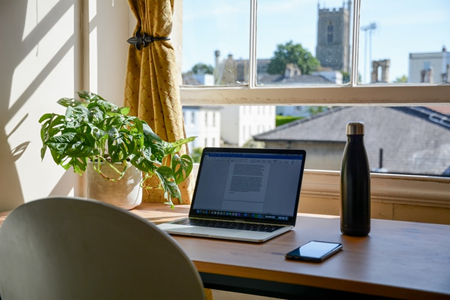 Laptop, bottle, plant and phone on table by a window.