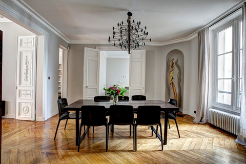 Minimalistic, eight-seater dining table.