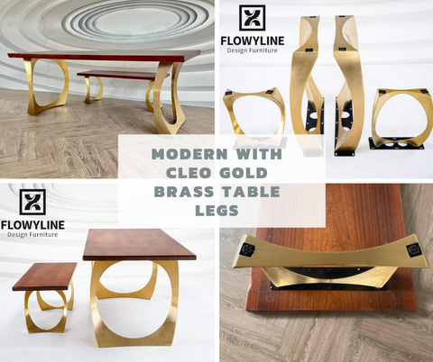 Modern with Cleo Gold Brass Table Legs